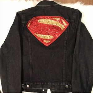 Gap DC Comic Superman Black Denim Sequin Jacket